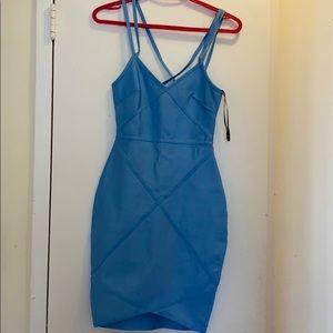 MISSGUIDED Baby Blue BANDAGE Dress